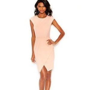 Bar iii Peach Envelope Hem Sheath Dress - Small